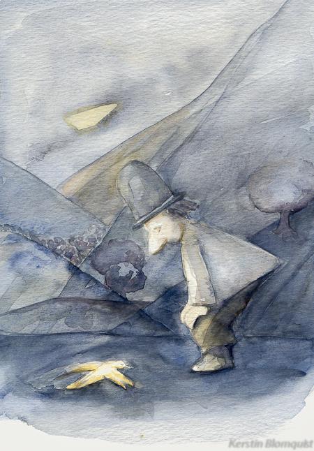Kerstin Blomquist akvarell ur Aron och fågeln
