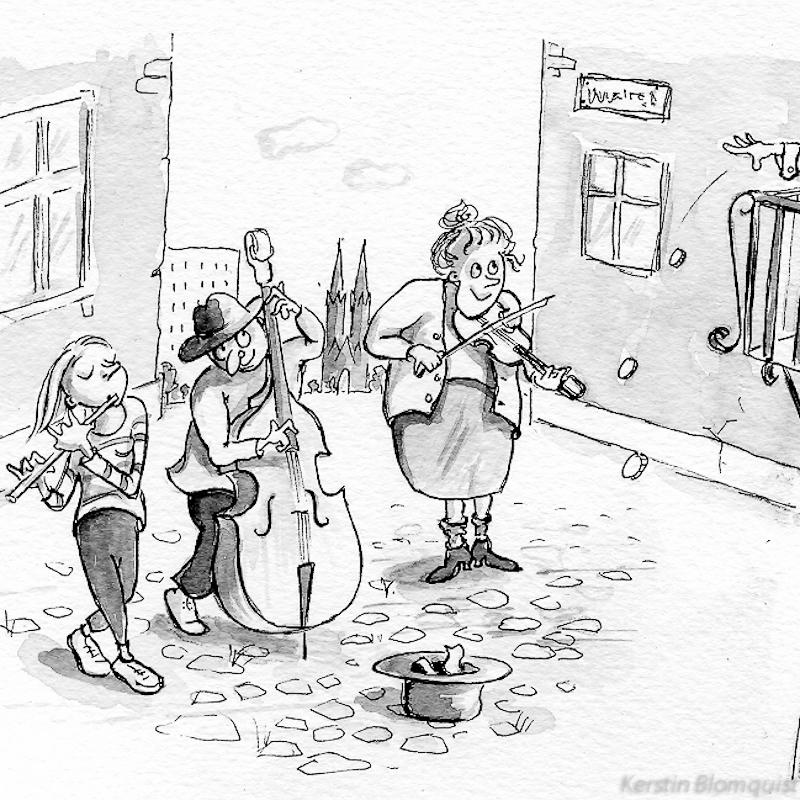 Kerstin Blomquist illustration ur Stora Musiktävlingsboken